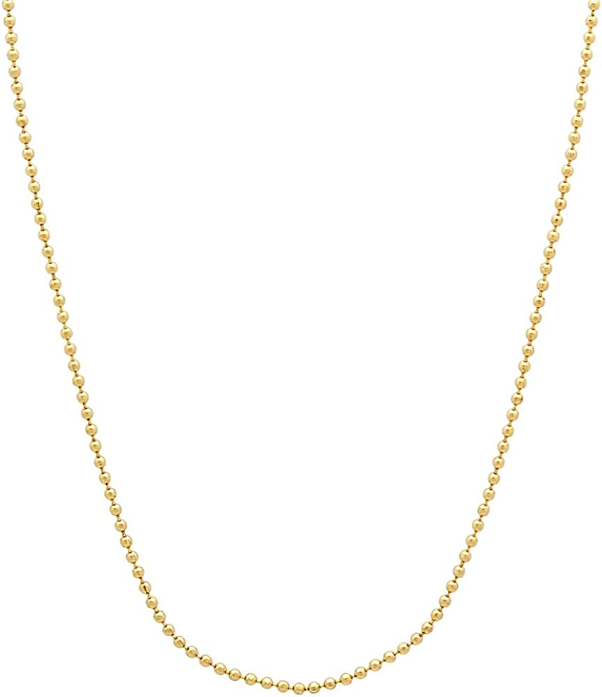 The Bling Factory 1mm-6mm 0.25 mils 14k Yellow Gold Plated Round Ball Chain Necklace or Bracelet, 7'-36 + Jewelry Cloth & Pouch