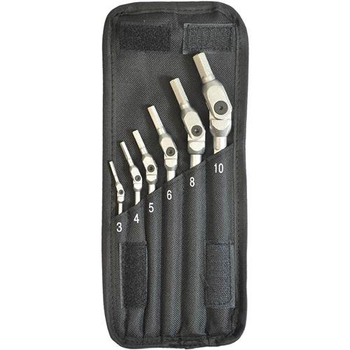 Bondhus 00010 HEX-PRO Pivot Head Wrench Set, Includes Sizes: 3, 4, 5, 6, 8 & 10mm (6 Piece), Chrome