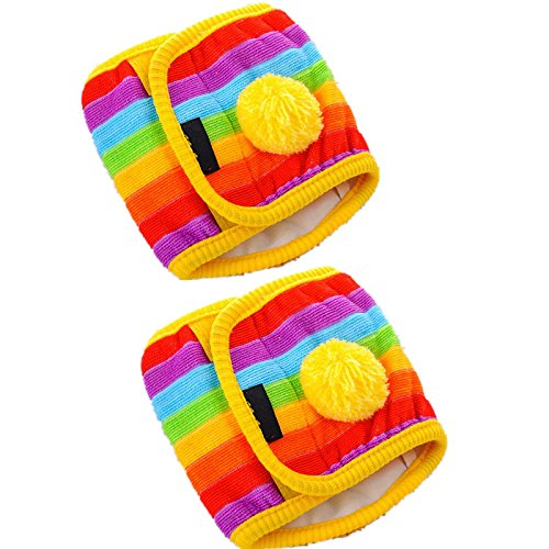 Fully 2pcs/set Dog Diapers Doggie Male Belly Band Wraps Doggie Health Pants Nappy Reusable Iridescence (M (chest circumference: 28-33cm), rainbow - Manchester Mall Of