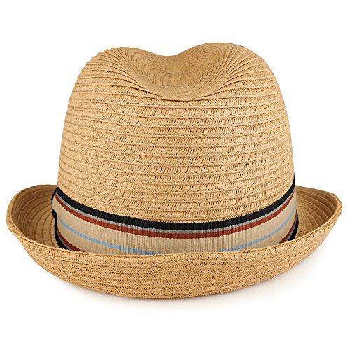78cb2cdcd4012 XXL Oversized Stylish Basic Stingy Straw Fedora Hat - CAMEL - Buy ...