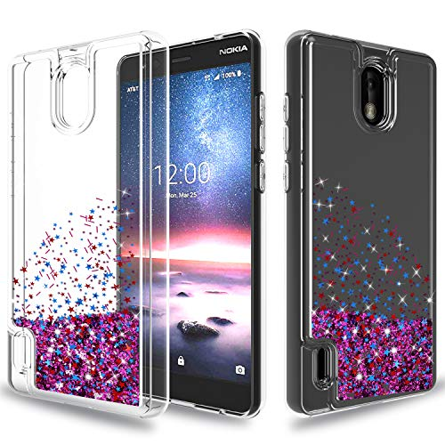Wtiaw for:Nokia 3.1 C Case,Nokia 3.1 C Phone Case,Nokia 3.1 C Glitter Case,[Quicksand Series] Flowing Liquid Floating Ultra Thin Shock Absorption Clear TPU Case for Nokia 3.1 C-HA Rose Red