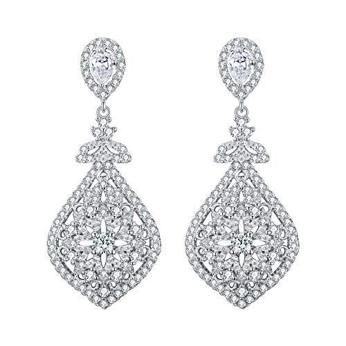 (EVER FAITH 925 Sterling Silver Cubic Zirconia Gatsby Inspired Chandelier Teardrop Earrings Clear)