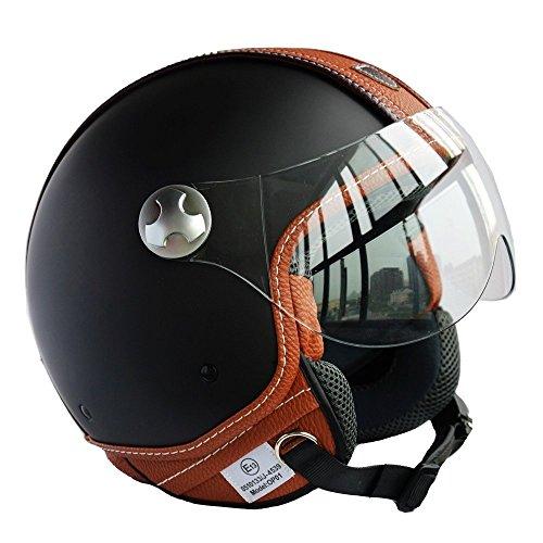 Peda italienischen Design (Moca B) ECE DOT Motorrad Helm Vintage Leder Stil für Vespa, Unisex-geöffneter Gesichts ITALIEN Jet Sport Urban Cascos Capacete, Halbhelm (M (57-58cm))