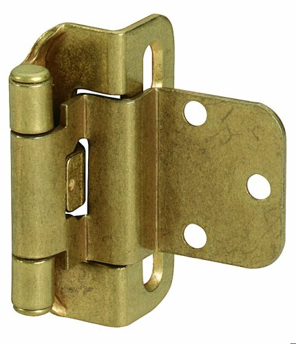 Amerock BPR7565BB 3/8in (9.5 mm) Inset Self-Closing, Partial Wrap Burnished Brass Hinge - 2 Pack