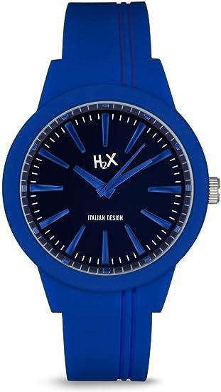 Con Silicona Cuarzo Hombre Y Reloj H2x Analogico P Para Azul 7yIvf6Ybg