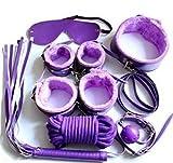 (US) Haipat NEW Leather Plush Bondage Equipment Kits Bedroom Pleasure Role Play Collar Gag Cuffs Whip Rope Blindfold Bondage Kit for Love 7pcs (Purple)