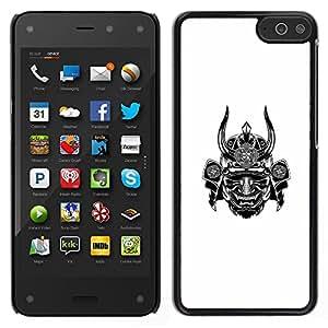 Samurai Warrior Blanca Cuerno Scary Japón- Metal de aluminio y de plástico duro Caja del teléfono - Negro - Amazon Fire Phone