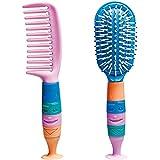 Kinder Haarbürste, Kosmetex Haarkamm, Kinderkamm, Bürstenset mit Saugnapf, 2er Set