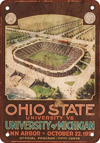 (HTFDS 1927 Ohio State vs. Michigan Vintage Look Reproduction Metal Tin Sign 8x12 inches)