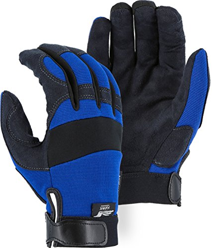 Synthetic Leather Mechanic Glove - Majestic Glove Blue Synthetic Leather Mechanics Glove Armorskin 2137BL (1 Pair) (Small)
