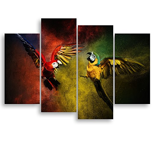 Parrot Photo Frame (Modern Parrot Art for Living Room Wall, SZ Colorful Tropical Animals Canvas Painting Prints Decoration of Flying Wild Macaw Birds Picture (Bracket Mounted, 1