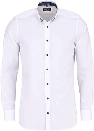 Marvelis - Camisa de manga larga, Body Fit, color blanco ...