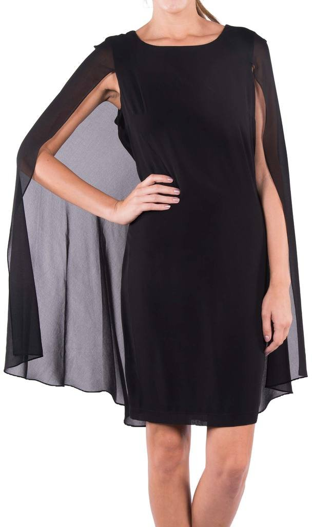 Joseph Ribkoff Black Sleeveless Dress with Sheer Drape Cover Style 163230 - Size 18