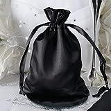 Efavormart 60PCS Black Satin Gift Bag Drawstring Pouch Wedding Favors Bridal Shower Candy Jewelry Bags - 5'x7'