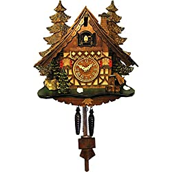 Alexander Taron Importer 409Q Engstler Battery-Operated Cuckoo Clock-Full Size-12 H x 12 W x 7 D, Brown