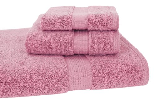 Homestead Textiles Growers Collection 100-Percent Zero-Twist Pima Cotton 3-Piece Bath Towel Set, Cherry Blossom