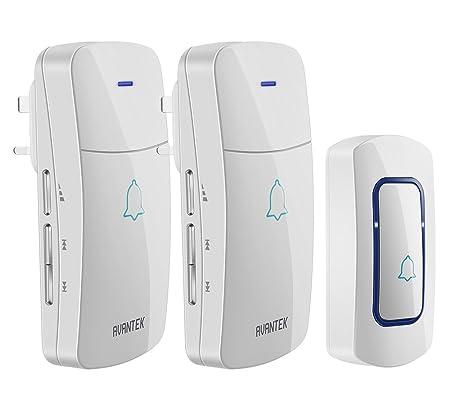 Wireless Door Bell, AVANTEK D 3E Waterproof Doorbell Chime With 2 Plug In