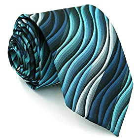 Shlax&Wing Mens Ties Ripple Blue Multicolored Silk Green Long 57.5