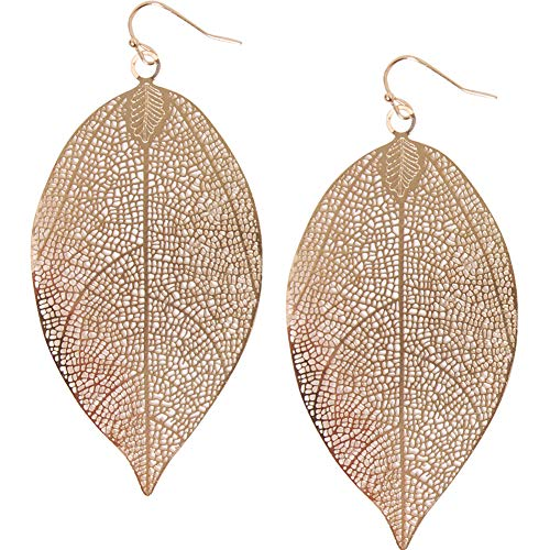 Large Leaf Earrings - Humble Chic Filigree Leaf Earrings - Lightweight Cutout Oversized Drop Dangles, Gold-Tone Flat Leaf