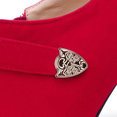 AllhqFashion Mujer Esmerilado Cremallera Tacón de Aguja Puntera en Punta Botas Rojo