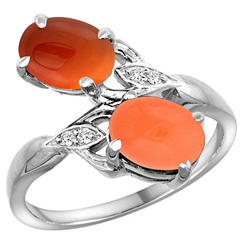 10K White Gold Diamond Natural Orange Moonstone & Brown Agate 2-stone Ring Oval 8x6mm, size 10 ()