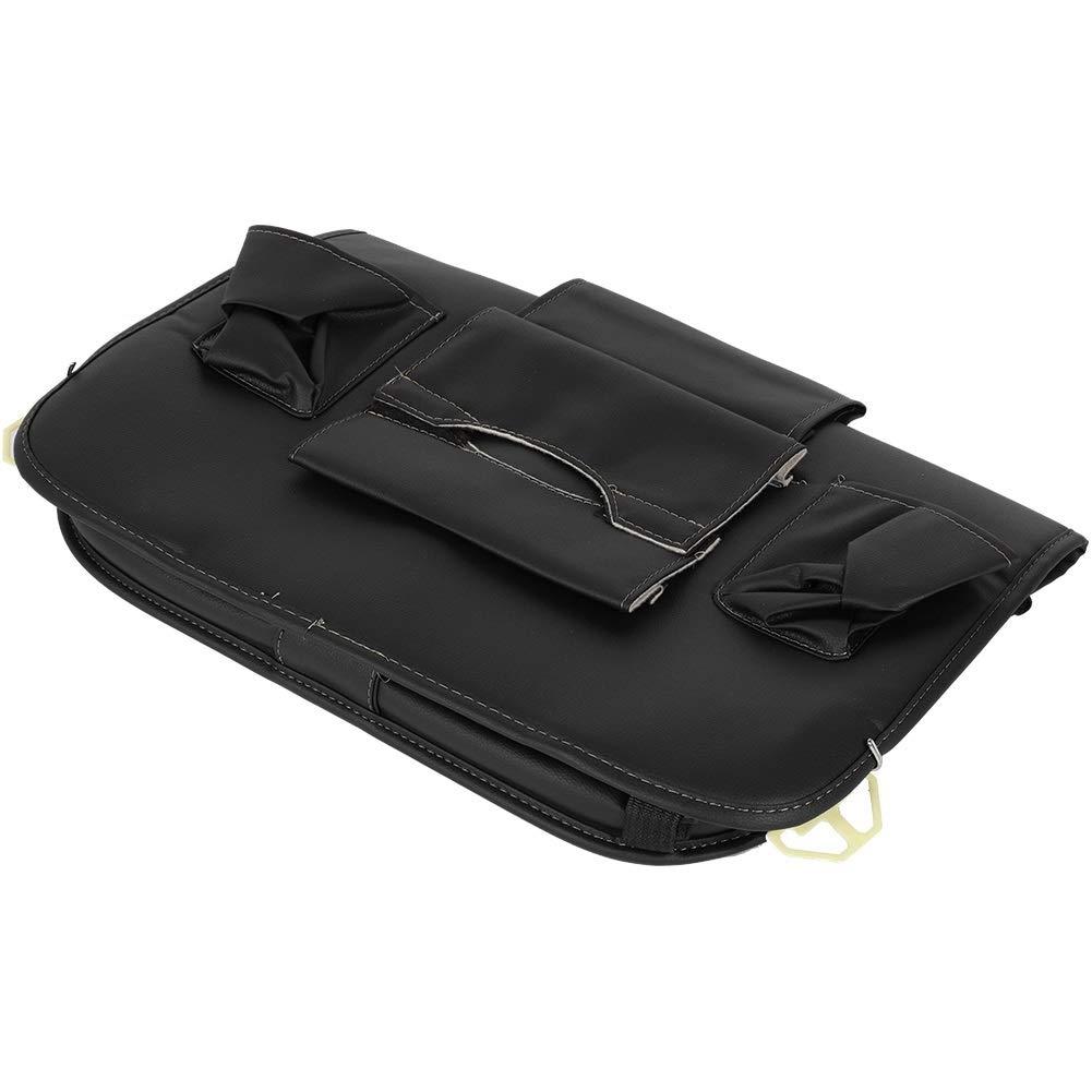 Car Seat Organizer - Multi-Purpose Leather Backseat Organizer PU Leather Storage Organizer Tray Pouch 2pcs Black by Delaman (Image #4)