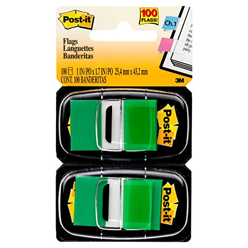 Post-it Standard Page Flags in Dispenser  1in Wide, Green 100 Flags, - Mark Green Corp