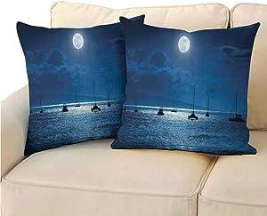DuckBaby Bedroom Pillowcase Ocean Decor Dramatic Photo of A Nighttime Sky Full Moon Over A Calm Ocean Scene in Maui Hawaii for Sofa Bedroom Car (2 PCS, 24x24 Inch) Navy White