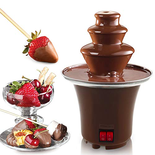 Chocolate Fondue Fountain Stainless Steel 3-Tier Chocolate Melting Machine Electric Fondue Pots Dessert for Party Wedding Hotel Mini Size, 1.5 - 2 Pound Capacity ()