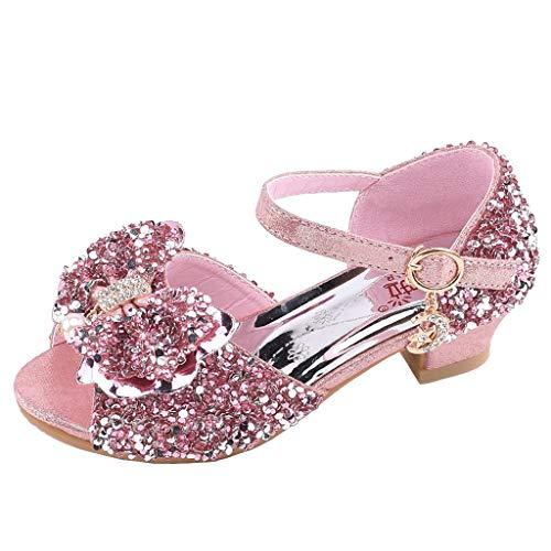 Pink B, 12 M US Little Kid Axinke Kids Girls Fashion Summer Flat Princess Sandals Shoes with Bowknot