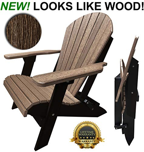 DuraWeather Classic Folding Adirondack - King Size - New Wood Grain Poly Looks Exactly Like Real Wood - Made in U.S.A - 350 lb Weight Capacity - (Antique Mahogany on ()