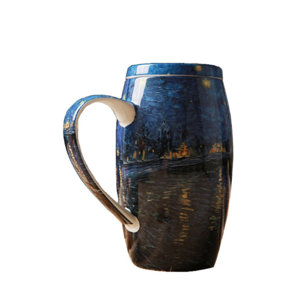 Van GoghStarry Night Over The Rhone, Hand-Painted Mug, Large Capacity Cup, Exquisite Gift for Your Love, 750ml Ceramic Mug ClearLoveX