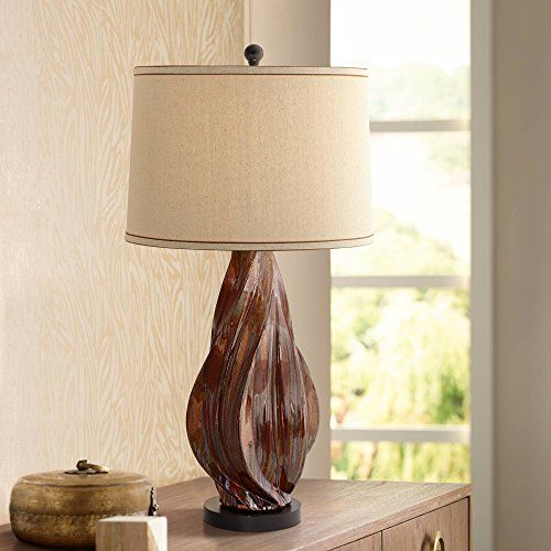 (Teresa Mid Century Modern Table Lamp Ceramic Copper Brown Tapered Drum Shade for Living Room Family Bedroom Bedside - Possini Euro Design)