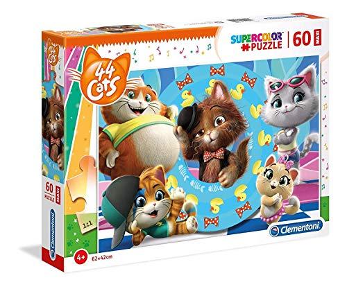 Clementoni- Puzzle Suelo 60 Piezas 44 Gatos, Color Gatti, 60pezzi (26441.4)