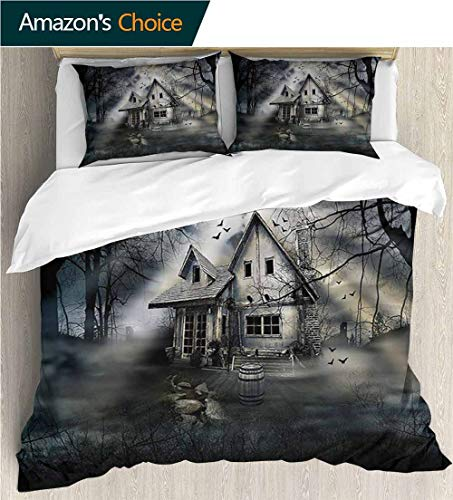 Bedding Sets Duvet Cover Set,Box Stitched,Soft,Breathable,Hypoallergenic,Fade Resistant Bedspreads Beach Theme Quilt Cover Children Comforter Cover-Halloween Haunted House Dark Horror (87