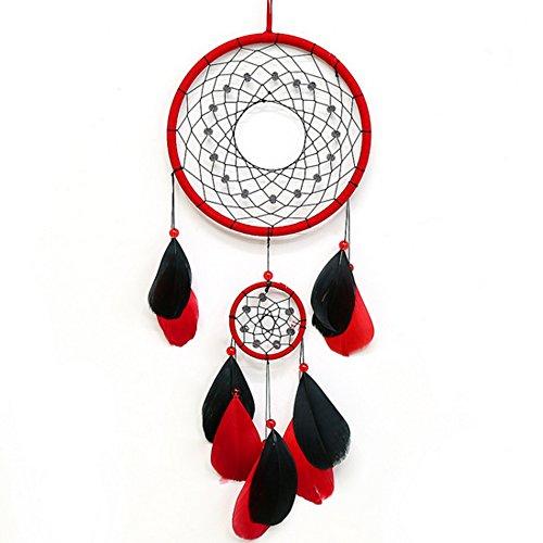 DOFE Colorful Dream Catchers,Big Dream Catcher,Handmade Dream Catcher,Dream Catchers For Bedroom. (Red and Black)
