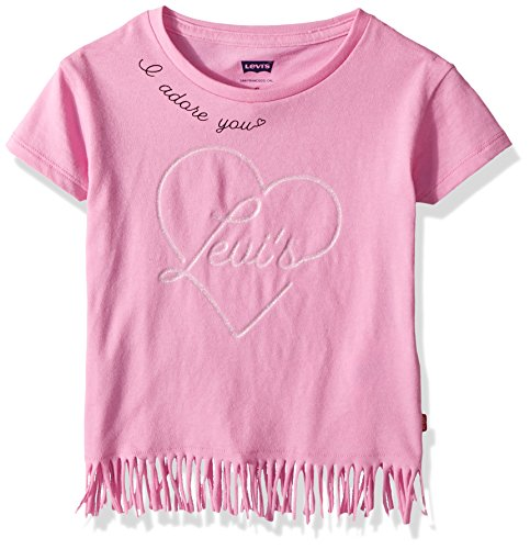Levi's Girls' Toddler Fringe Hem Graphic T-Shirt, Fuchsia Pink, 3T