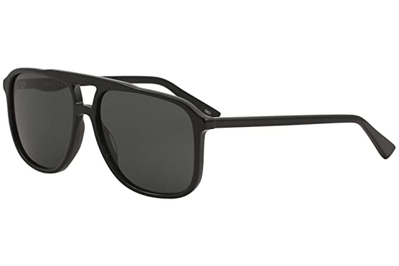 15f153222a1 Amazon.com  Gucci GG0262S 001 Black Plastic Aviator Sunglasses Grey ...