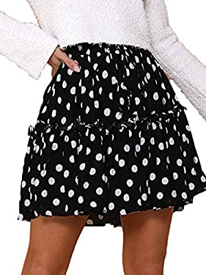 FAFOFA Women Sexy High Waist Drastring Ruffle Flared Pleated Skater Skirt