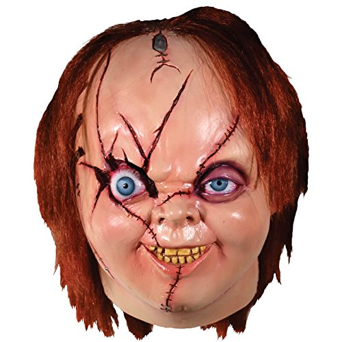 Bride Of Chucky Version 2 Chucky Full Head Mask, Beige Red, (The Bride Of Chucky Halloween Costumes)