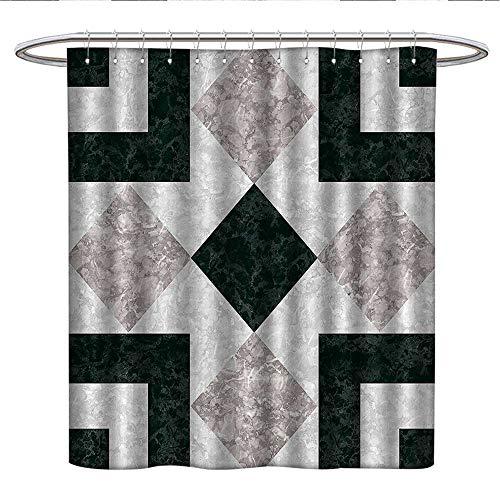 Anshesix Apartment Decorkids Shower curtainNostalgic Marble Stone Mosaic Regular Design with Alluring Elements ImageRound Shower Curtain rodPearl