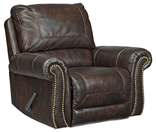 Ashley Leather Recliner - Ashley Bristan Collection 8220225 Rocker Recliner with Leather Upholstery Stitched Detailing Nail Head Accents Rolled Arms and Traditional Style in