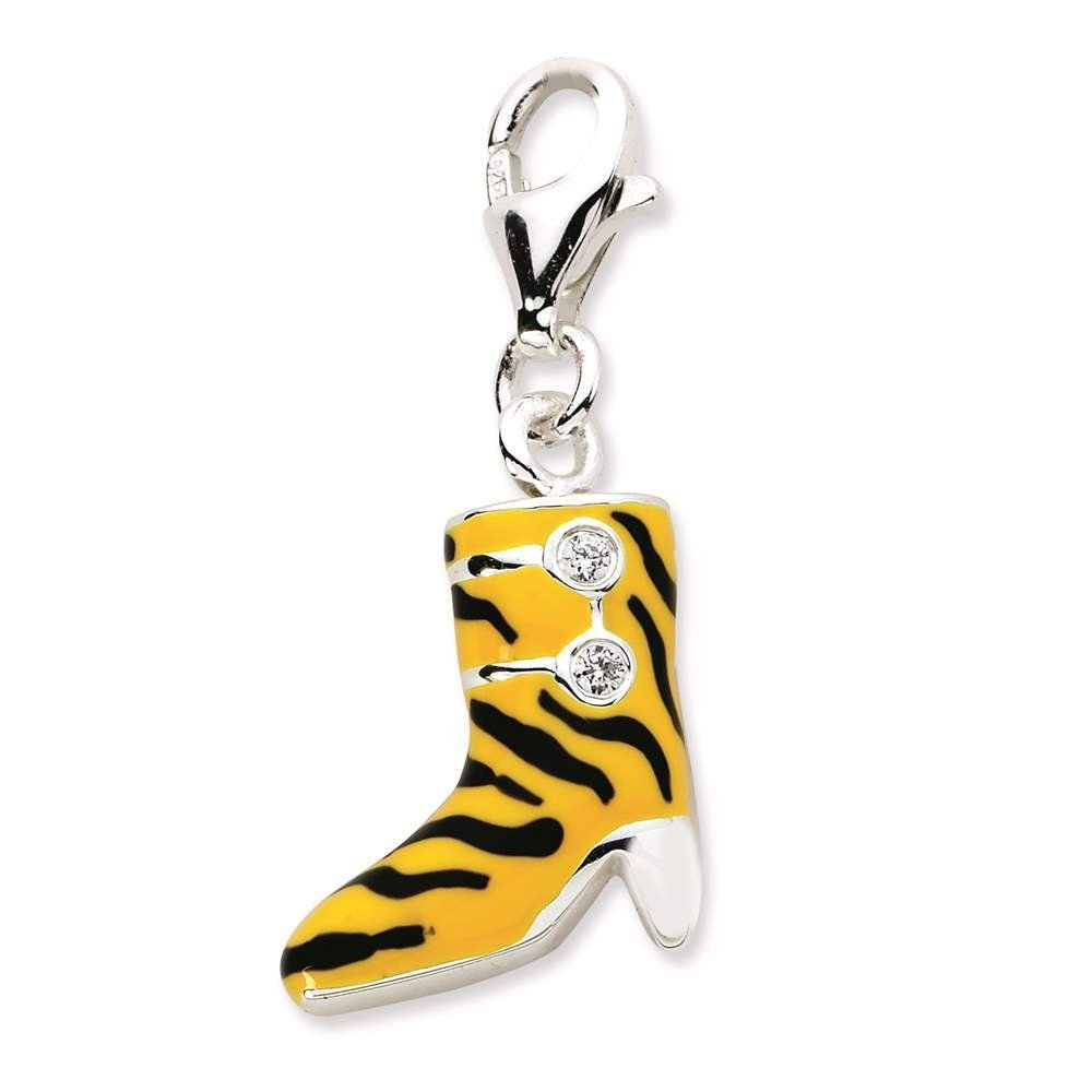 Amore La Vita Collection 925 Sterling Silver CZ Enamel 3-D Tiger High Heel Boot w// Lobster Clasp Charm