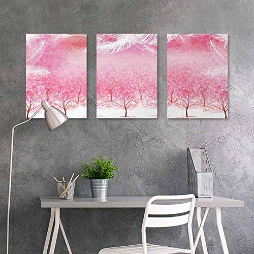 (BE.SUN Graffiti Canvas Painting,Pink,Hazy Japanese Cherry Blossom Trees with Feather Effects on Top Romantic Design,On Canvas Abstract Artwork 3 Panels,24x47inchx3pcs,Light Pink White)