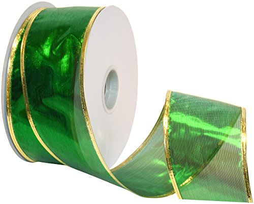 Morex Ribbon Gleam Wired Metallic Sheer Ribbon, 2.5-in x 50-Yd, Emerald
