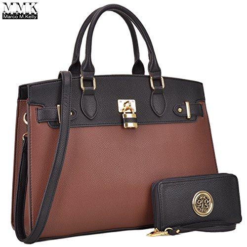 Women Fashion Handbag with Matching wallet~Classic Women Satchel Tote Bag Shoulder Bags~Signature Women Designer Purse ~ Perfect Women Satchel handbag with Spring color block (03-6876-Black/Brown)