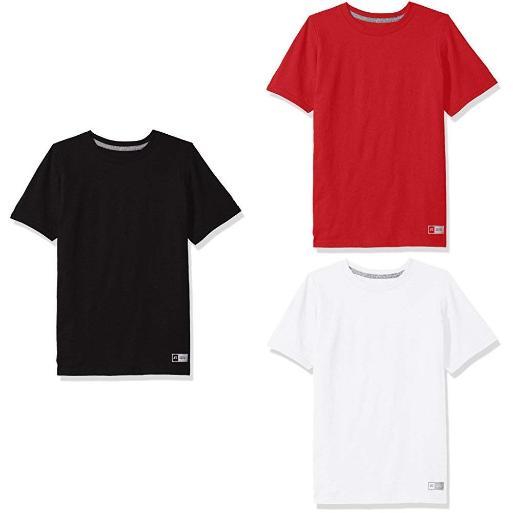 Russell Athletic Big Boys' Essential Short Sleeve Tee, Black/True Red/White, S