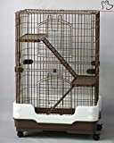 Homey Pet 3 Tiers Chinchilla Hamster Rat Ferret Cage with Sleeping Platform, Pull out tray, Urine Guard and Lockable Casters, Brown, L26