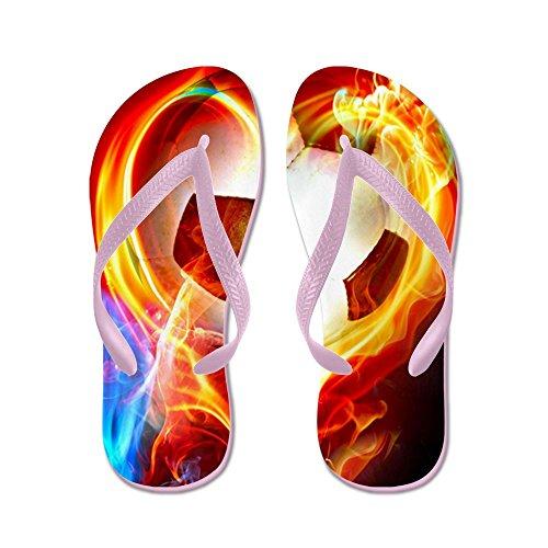 CafePress Flaming Football Ball - Flip Flops, Funny Thong Sandals, Beach Sandals Pink