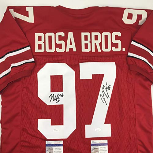 Autographed/Signed Nick & Joey Bosa Brothers Ohio State Red College Football Jersey JSA - Jersey Autographed